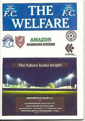 HEMSWORTH MINERS WELFARE v SCARBOROUGH ATH N.C.E LEAGUE DIV ONE 7th feb' 2009