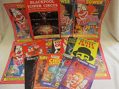 17 x Blackpool Tower Circus Programmes 1970's & 80's + Norman Barrett Signed