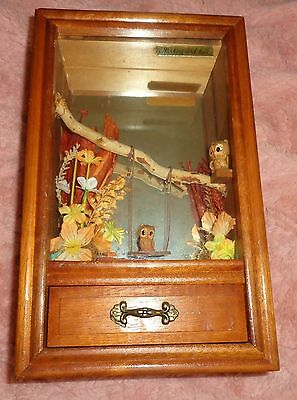 Vintage George Good Wood Music Box / Wall Hanging Moveable Floating Owl Swing