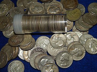 Roll of 40-90% Silver Circulated Pre 1965 US Quarters