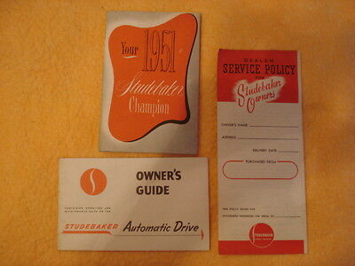 NOS 1951 Studebaker Champion Owner's Guide/Automatic Drive Guide/Service Policy