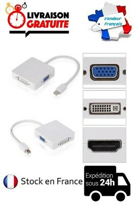 Cable Adaptateur Convertisseur Mini Dp Displayport / Vga Dvi 24+5 Hdmi Macbook