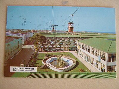 Postcard BUTLIN'S SKEGNESS, CHAIR LIFT AND PANORAMA. Used 1968. Standard size.