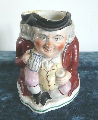 Antique hand painted Staffordshire John Bull pottery Toby Jug