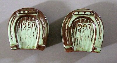 Vintage Frankoma Horseshoe Salt/Pepper, Type 2C, Praire Green, Plus