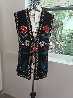 Ukrainian Boho Style Vintage Vest Handmade And Embroidered On Wool Felt