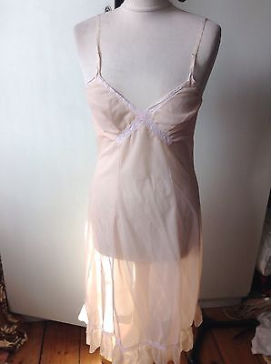 Vintage Kayserbondor  Pretty Sheer Nylon Lacy Slip Dress Petticoat 36""