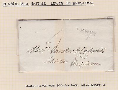 GB Pre-stamp 1810 ENTIRE Lewes to Brighton rated 4d with mileage mark