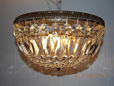 Antique / Vintage French Empire Flush Mount Crystal Basket Chandelier Brass Gold