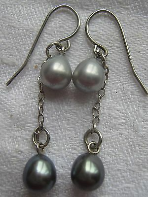 Signed   * Honora * Sterling Silver Double Pearl Drop Earrings Hook Through