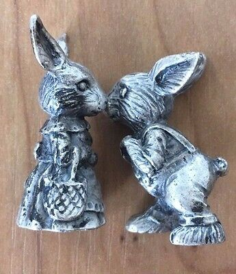 Adorable Pair of Pewter Rabbits