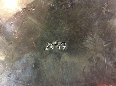 """Antique ROUND 14"""" FOOTED SILVER? Silverplate? TRAY Chased  w/oval T.W hallmark"""