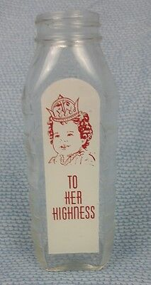 Vintage Samuel To Her Highness 8 Oz Glass Baby Bottle Antique White Red Print