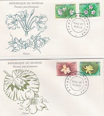 Senegal Republic 1982 2 First Day Covers Flowers Of Senegal