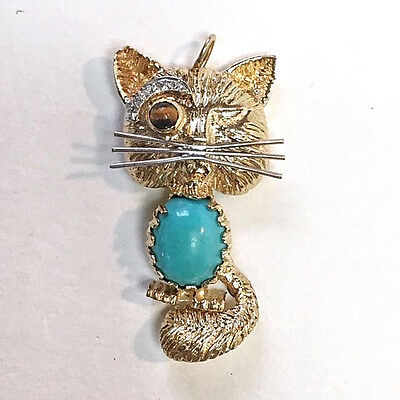 Cat Pendant 14K Gold w/Turquoise, Diamonds, in the style of Van Cleef & Arpels