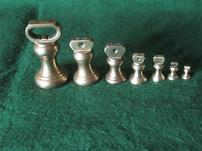 Set Of Seven Vintage Bell Shaped Brass Weights