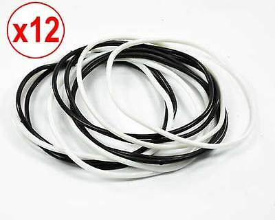 Gummy Rubber Bangles Shag Gum Bands Bracelets Wristbands black and white