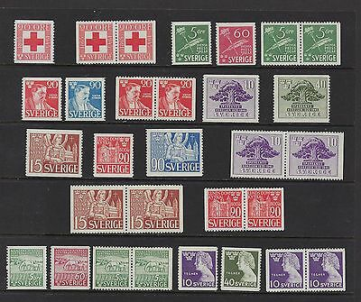 Sweden Years 1945-1946 MNH With Pairs  Scott $ 62.40