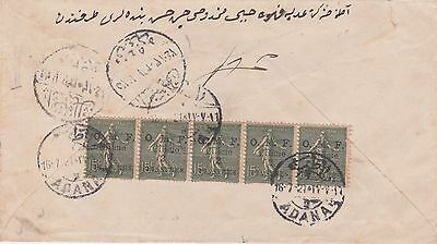 Turkey Armenia France America Y.m.c.a Cover Cilicia Stamps Soldier Mail Adana