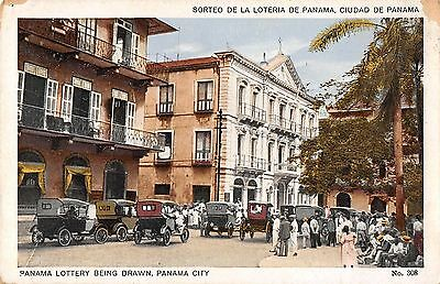 Panama City Panama street scene Panama Lottery being drawn antique pc (Z36493)