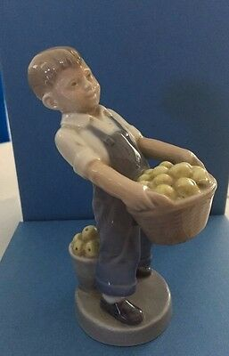 Royal Copenhagen #4532 October, Boy With Apple Basket,1970's Retired