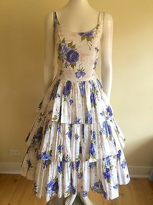 Original Vintage 40s 50s Dress , Rockabilly , Swing , Pinup, Full Skirt