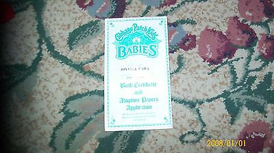 CABBAGE PATCH KIDS coleco girl  birth cert in envelope. BABIES #030