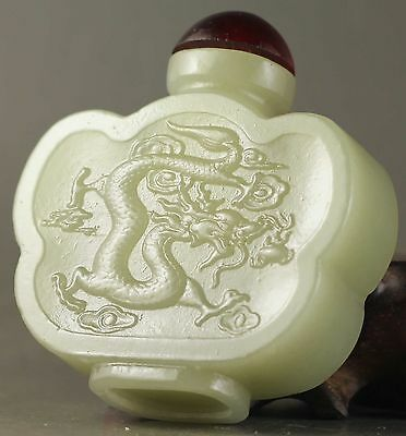 China old natural hetian jade hand-carved statue dragon Snuff Bottle