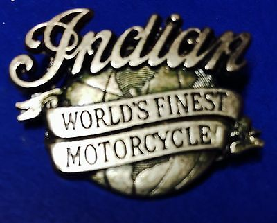 """Indian Motorcycle """"world's Finest Motorcycle """"  Pin ~ 1 3/4 """" ~ Pinch Clip"""