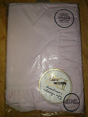 "BNIP Pink and White Gingham Crib Drape 21.5 x 51.5"" FREE UK DELIVERY"