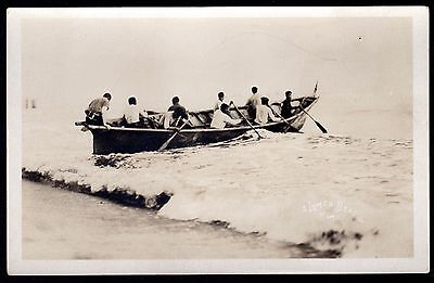c.1908 Alaska Natives in Dug Out Canoe ~ Lomen Brothers RPPC Photograph ~ Inuit