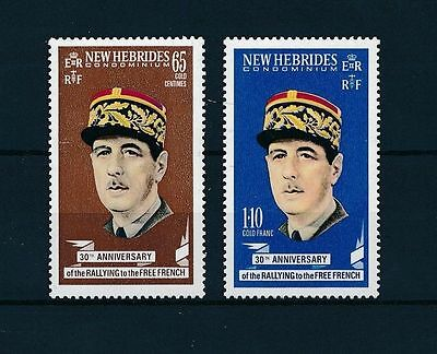 NEW HEBRIDES (BRITISH), SC 139-140, 1970 DeGaulle and Free French. MNH.