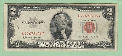 1953 C $2 Dollar Bill US Note Paper Currency Red Seal Circulated