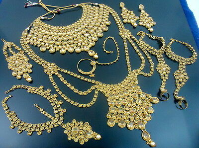 Lct Cz Gold Tone Bollywood Wedding Bridal Dulhan Traditional Jewelry Set 9 Pcs
