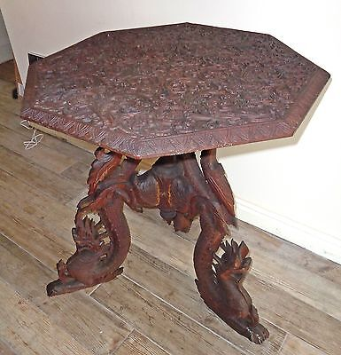 Eastern Hardwood Table with Relief Carved Foliate Top & Triform Dragon Base