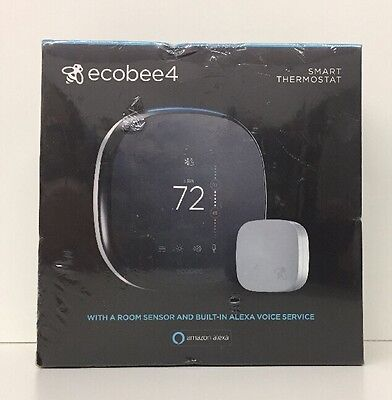 New ECOBEE4 Smart Thermostat With A Room Sensor & Built-In Alexa Voice Service