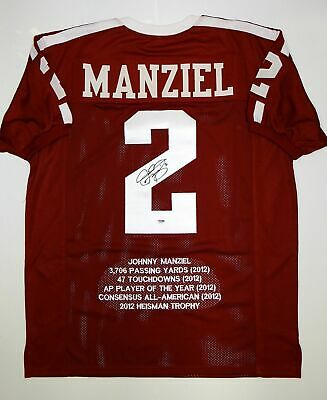 Johnny Manziel Autographed Maroon Stat Jersey- PSA/DNA Authenticated