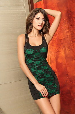 Green Black Lace Dress Floral Mesh Cut Out Back Cocktail Clubwear Mini 2495