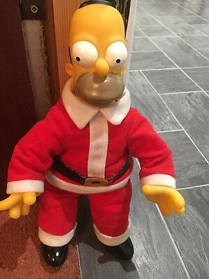 The Simpsons Vintage Homer Father Christmas Santa Plastic Figure Beanie Bottom