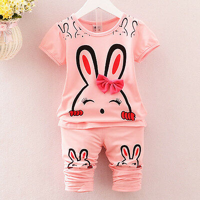 baby Girls clothes cotton summer short sleeve Top tee+short pants bunny outfits