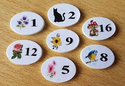 DOOR NUMBER Plaque / Sign PERSONALISED dolls house 1:12th scale cat flower bird
