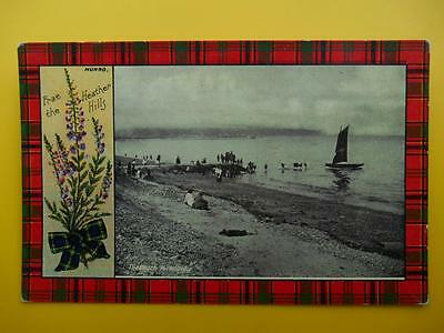 The Beach KIRKCALDY Fife *Vintage* c1910 Munro Tartan Heather people Boat