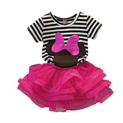Newborn Baby Kids Girls Outfits Clothes Tops T shirt Mini Skirt Dress Set 5-6Y