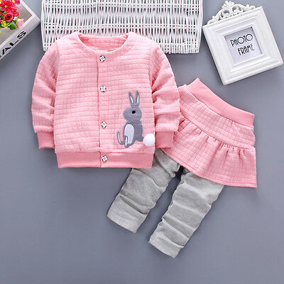 2pc Baby clothes kids girls jacket coat & skirt pants bunny outfits pink 2-3T