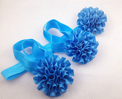 1set/3Pcs l-blue Baby Infant Headband Foot Flower Elastic Hair Band Accessories@