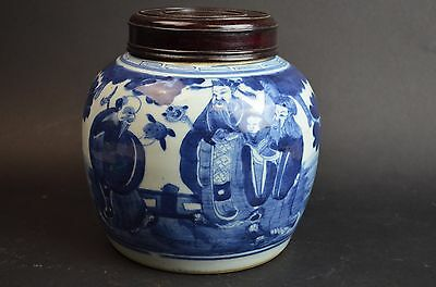 Chinese Blue and White Porcelain Jar with Wood Cover