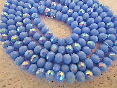 100 pcs RONDELLE FACETED GLASS CRYSTAL BEADS 6x4mm Lavender AB