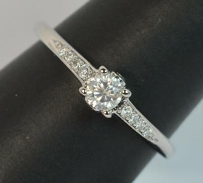 18 Carat White Gold 0.33ct Diamond Solitaire Engagement or Stack Ring d0811