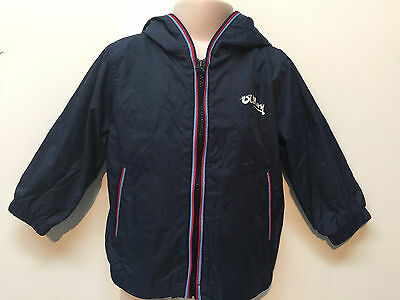 Old Navy Baby Boy Rain Coat Zip-up Hooded Blue Jacket Size 12-18 Months Lined