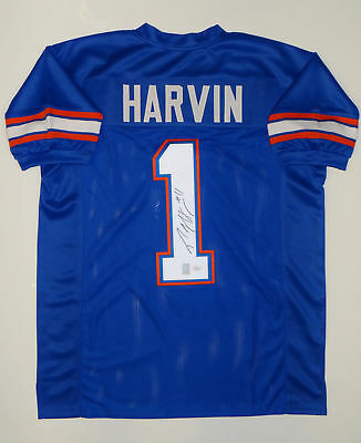 Percy Harvin Autographed Blue College Style Jersey- JSA W Auth